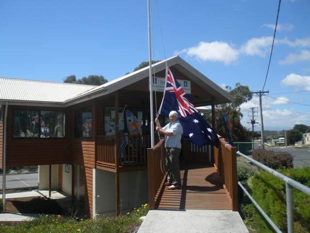 Raising the flag at The Pavilion